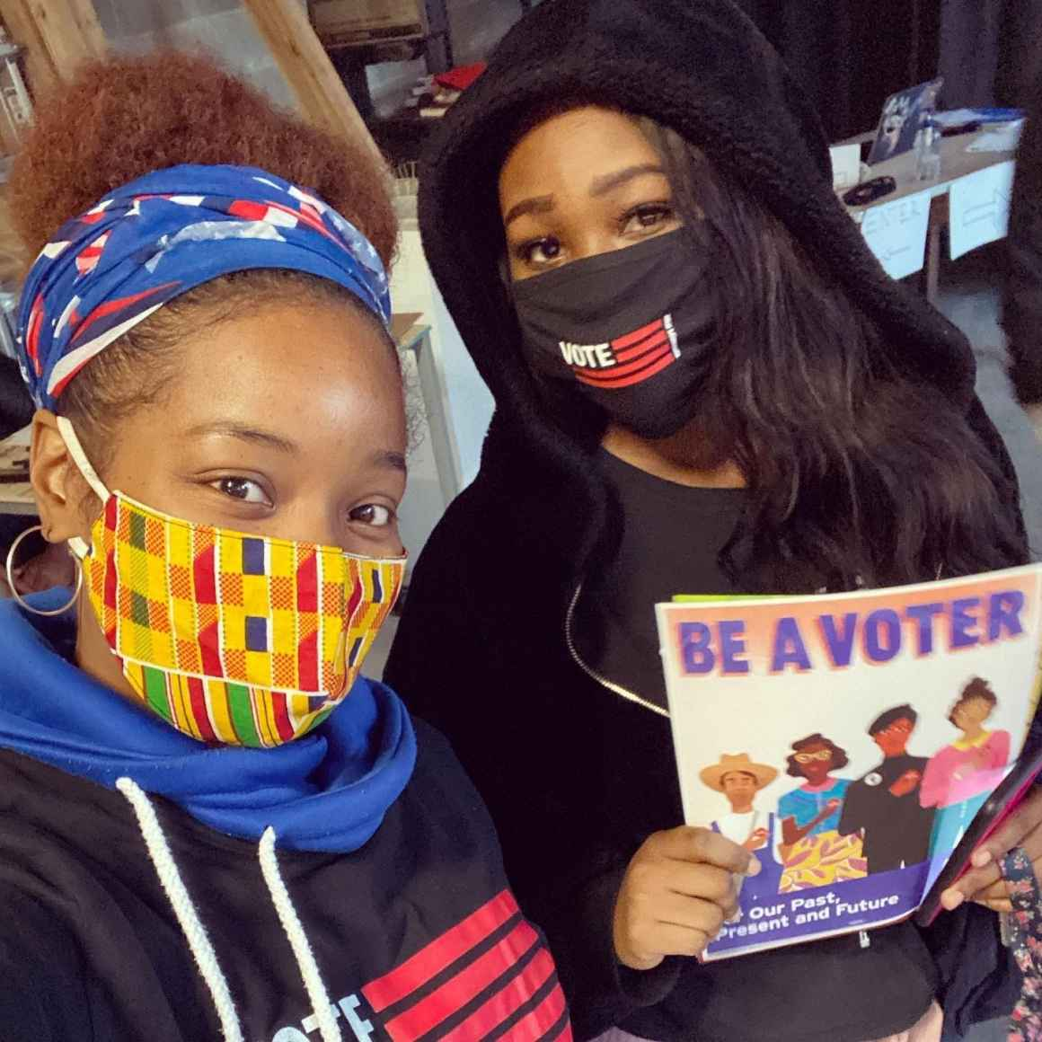 Run Like Harriet's Anika Bowie and Lashonda Roberts canvas voters for the ACLU-MN.