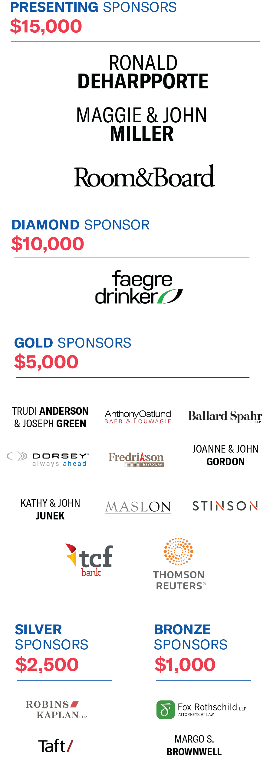 List of event sponsors
