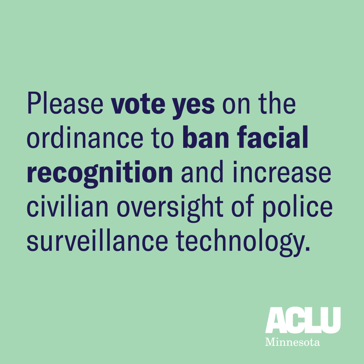 Please vote yes on the ordinance to ban facial recognition.