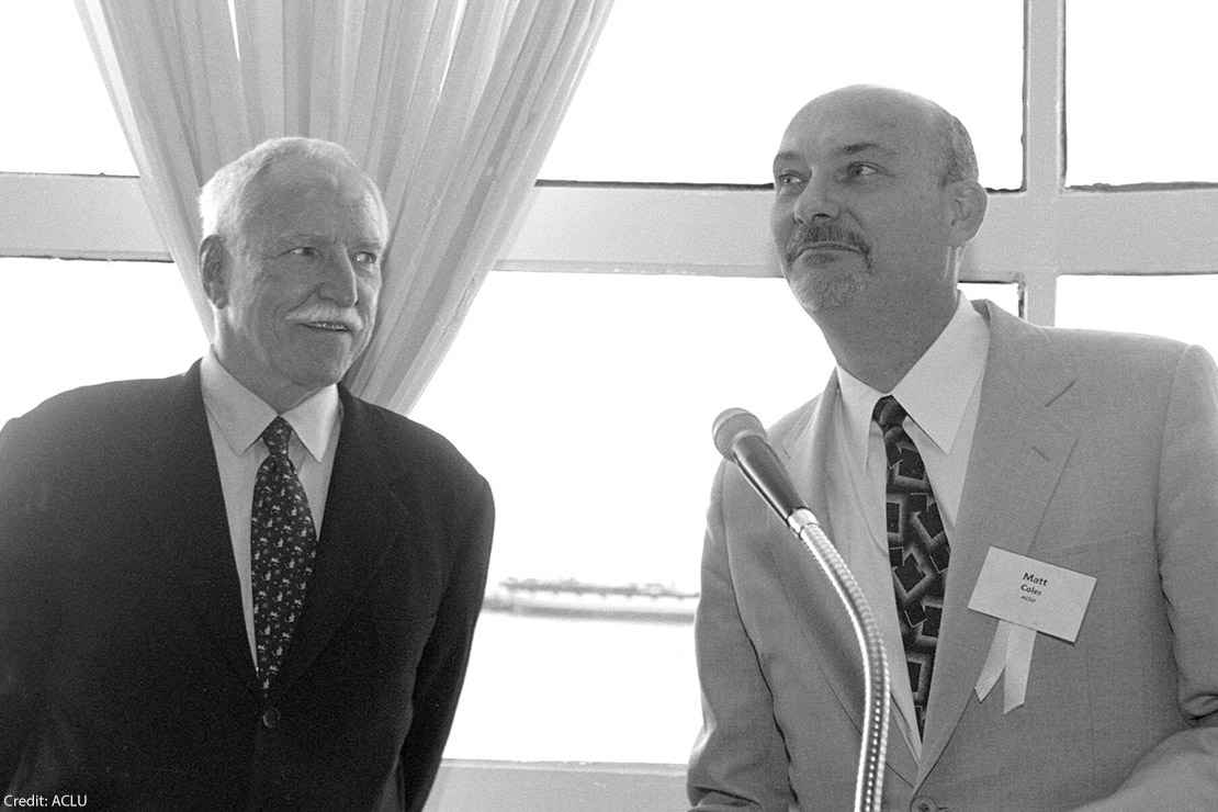 Black-and-white photo of James Hormel (left) and Matt Coles from the ACLU archives.