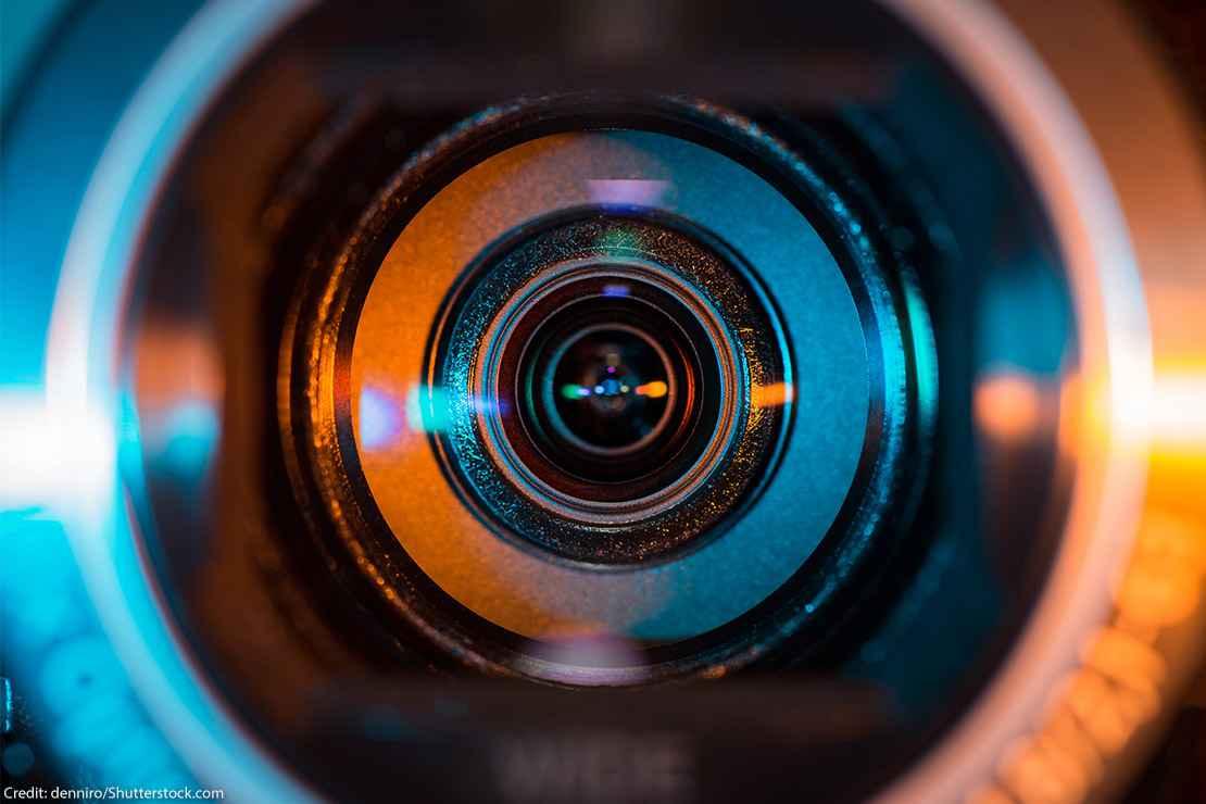 Close up of a camera lens.