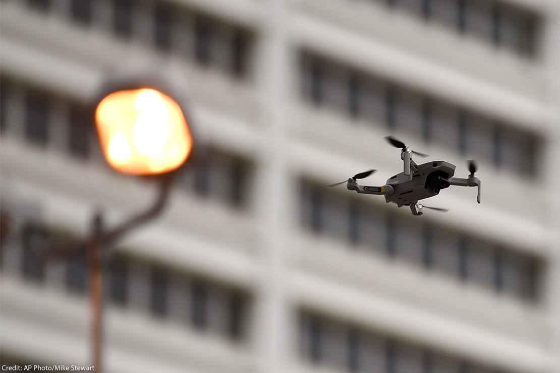 A law enforcement drone in flight.