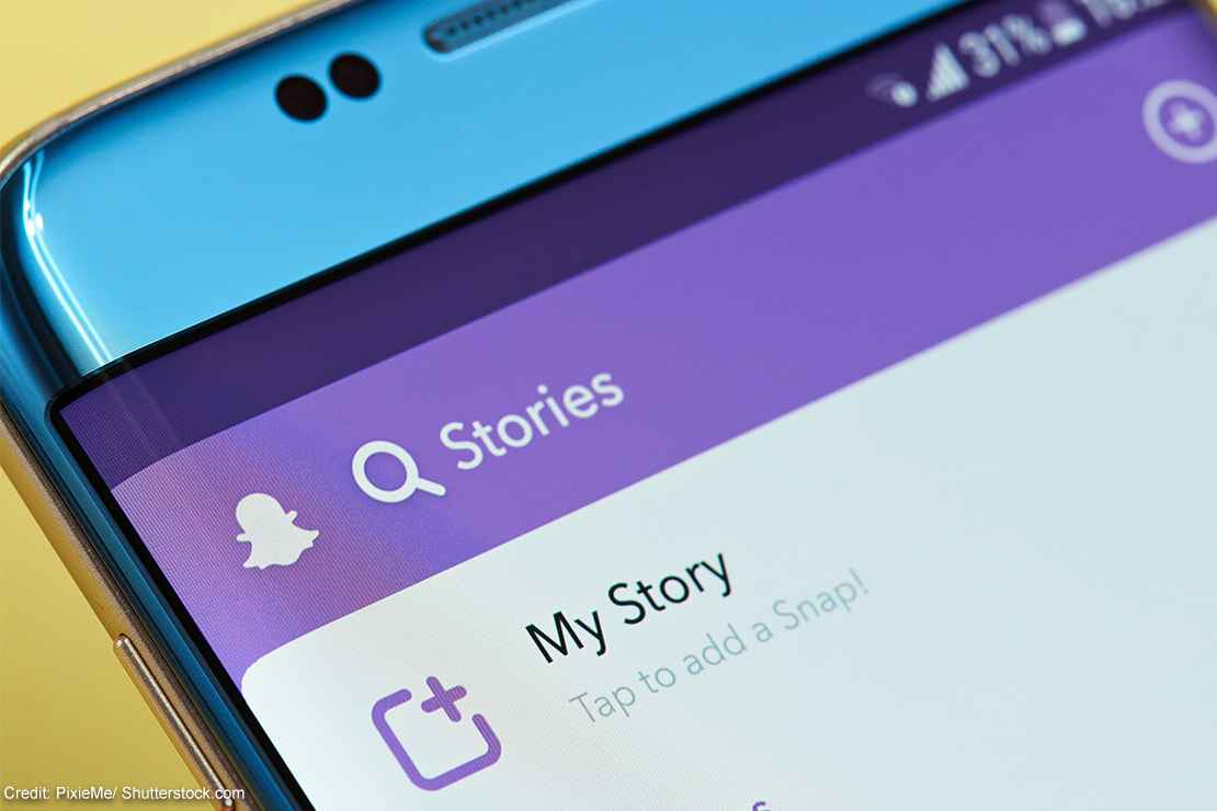 Snapchat stories on a smart phone.