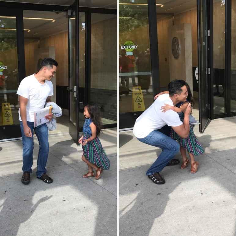 Sameth hugging his daughter after release