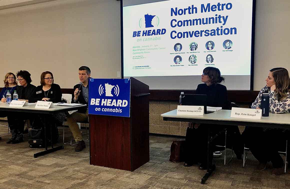 Panelists including Representative Ryan Winkler and ACLU policy analyst Charlotte Resing speak to open the Be Heard on Cannabis, North Metro event.