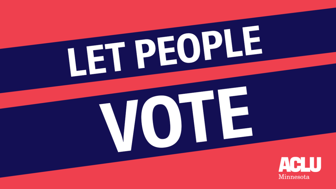"Dark pink background with diagonal navy blue banners reading: ""Let People Vote"""