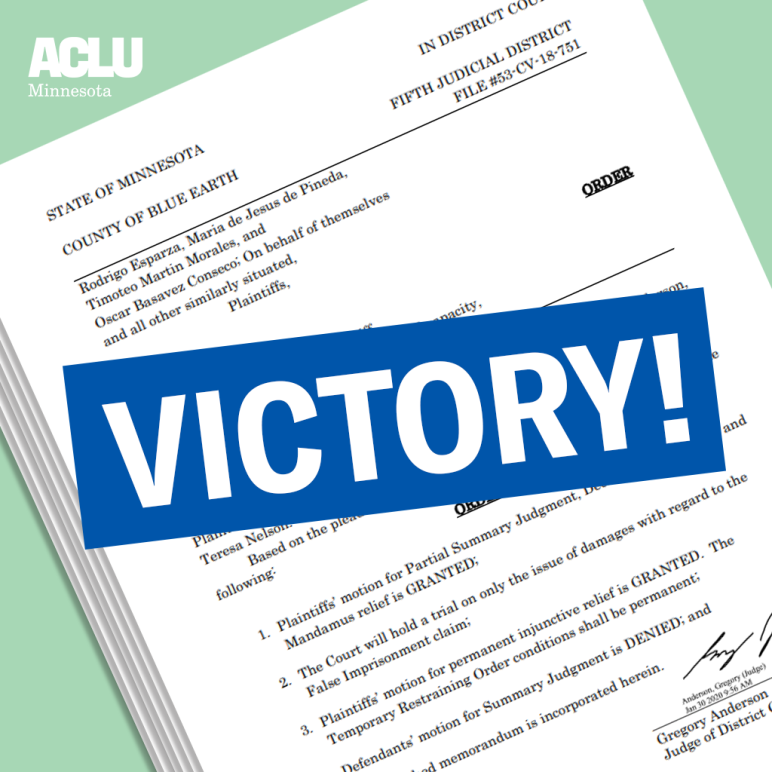 """Copy of front page of the judge's order, on a liberty green background. A royal blue textbox with the word """"Victory"""" is in the foreground."""