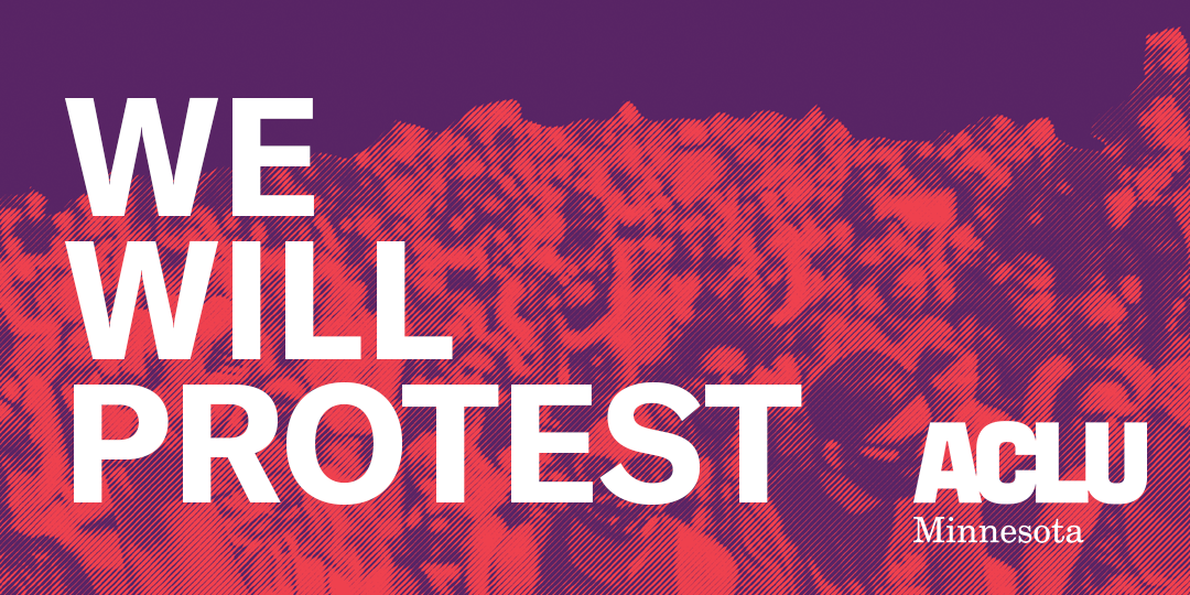 "Large, marching crowd with a red image filter beneath purple field with text reading: ""We will Protest"""