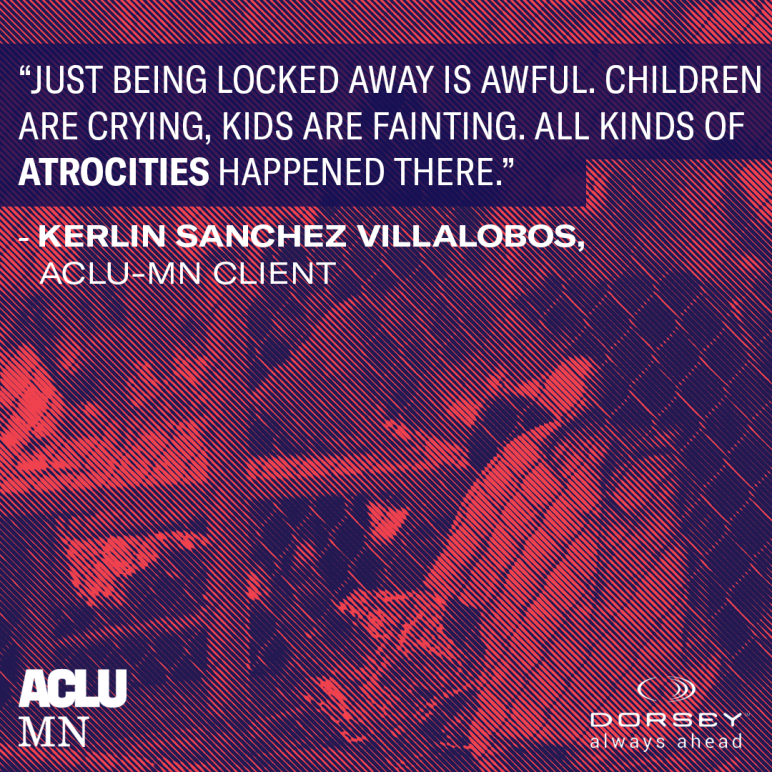 """Graphic with quote from Kerlin stating """"Just being locked away is awful. Children are crying, kids are fainting. All kinds of atrocities happened there"""" overlayed an image of a border camp detention center."""
