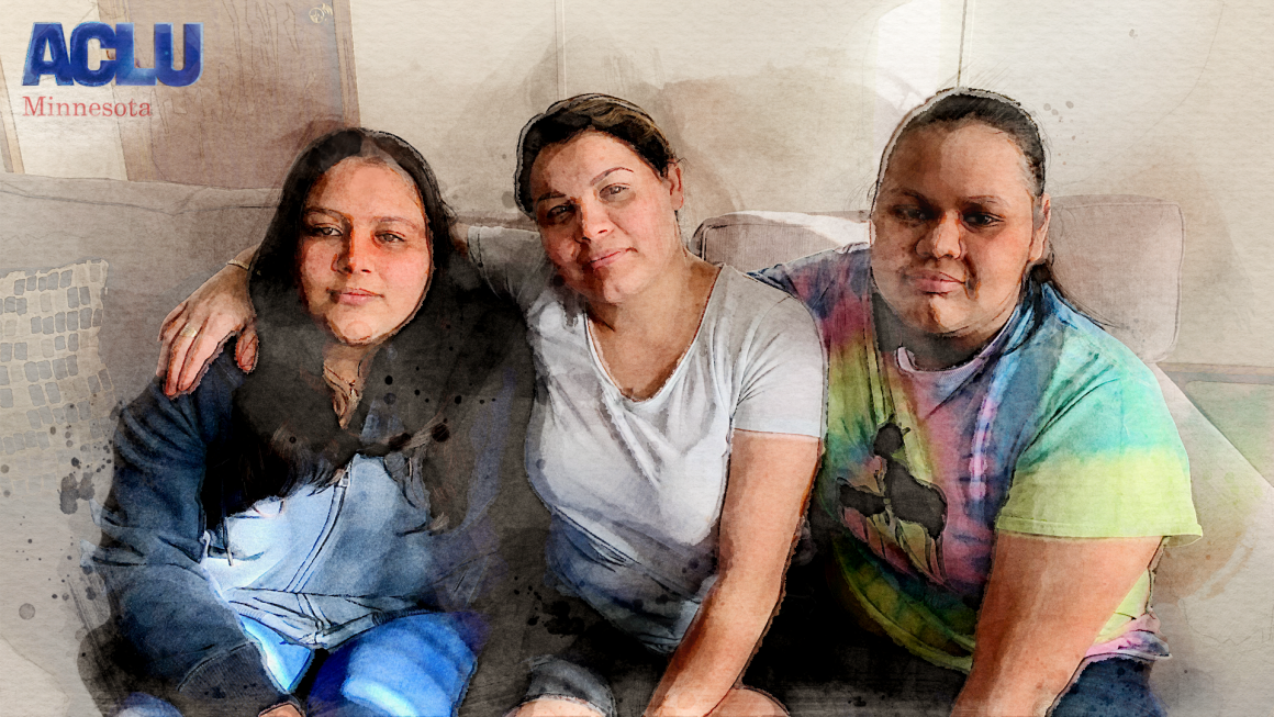 A digital watercolor portrait of the Villalobos sister and their mother