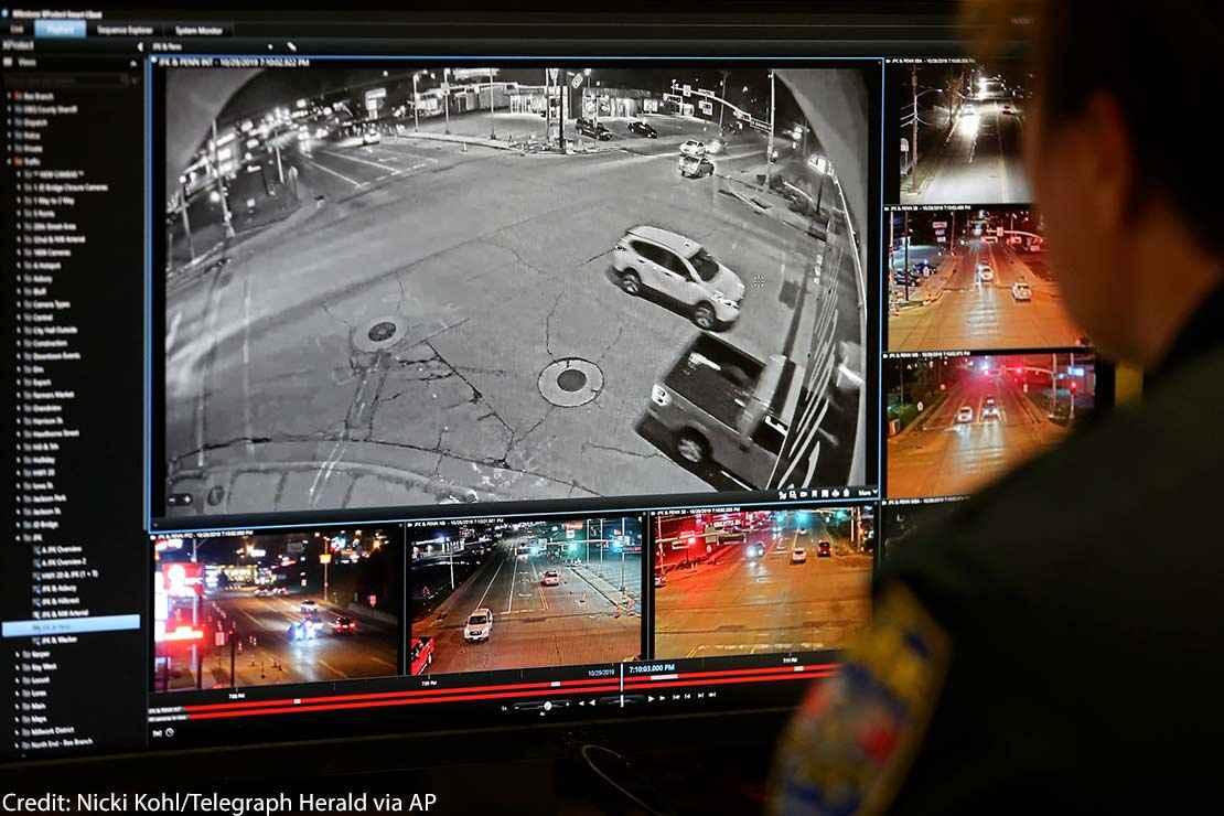 Gray police surveillance camera