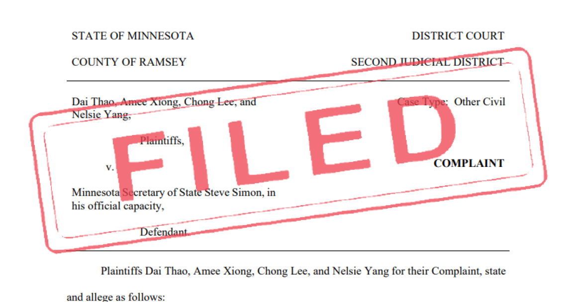 Header of legal filing listing plaintiffs and the defendant, Minnesota Secretary of State Steve Simon.