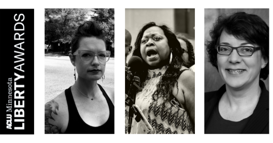 Photos of three Liberty Awards winners in black and white. From left to right: Amy Koopman, Valerie Castile, Kim Hunter