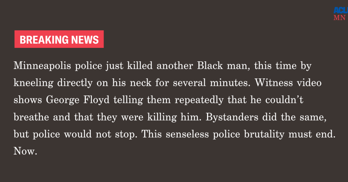 Minneapolis police just killed another Black man, this time by kneeling directly on his neck for several minutes.   Witness video shows George Floyd telling them repeatedly that he can't breathe and that they're killing him. Bystanders did the same, but p