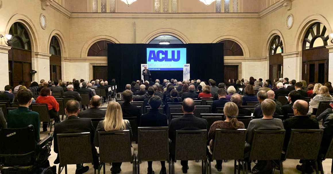 A crowd gathers at the ACLU Earl Larson and Changemaker Awards