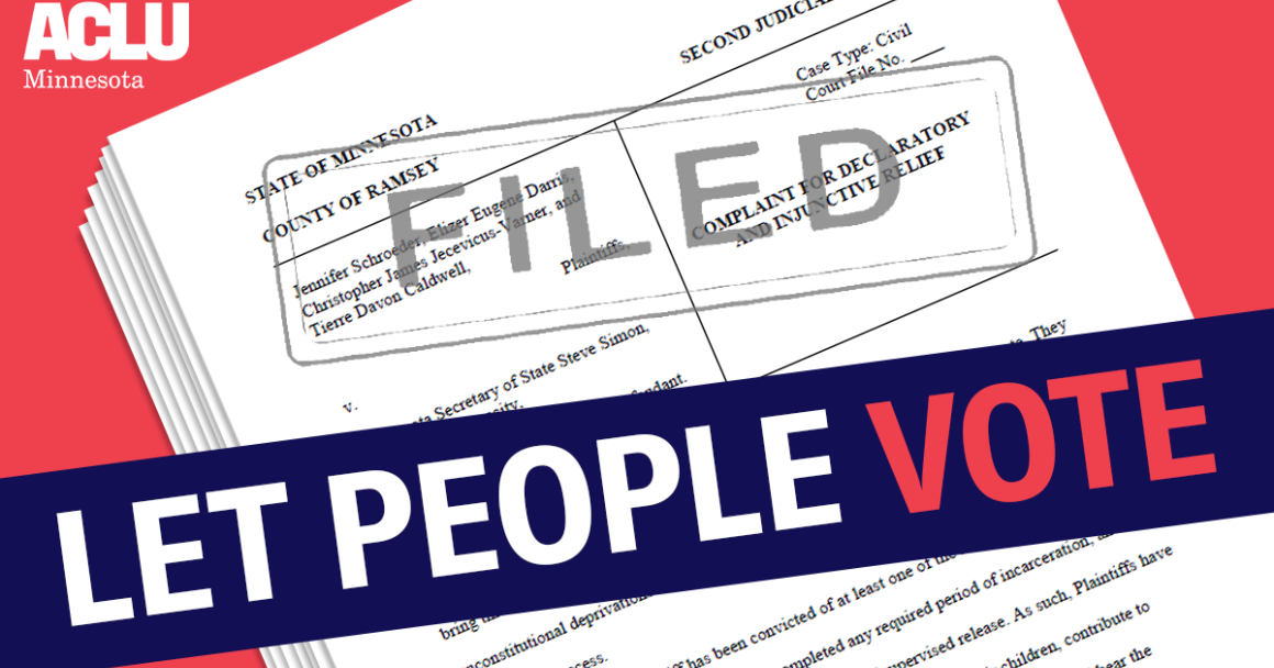 "Image of filed complaint, with dark blue banner across reading: ""Let People Vote"""